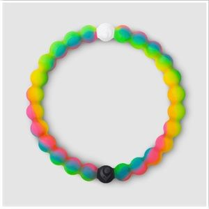Neon Rainbow Make-A-Wish Lokai Rubber Bracelet XL